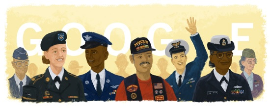 On November 11, 2015 Google posted this image on their search page to celebrate Veteran's Day. Sadly, it reflects how racist and superficial our society has become.